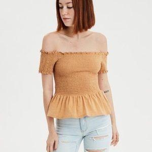 AE | off-the-shoulder smocked peplum t-shirt